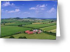 High Angle View Of Fields, Stradbally Greeting Card