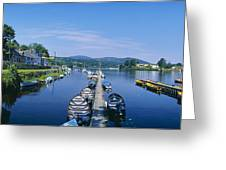 High Angle View Of Rowboats In The Greeting Card
