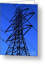 High Voltage Power Line Silhouette Greeting Card