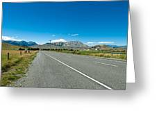 Highway Towards Panoramic Mountain Greeting Card
