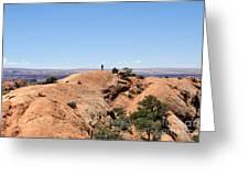 Hiker At Edge Of Upheaval Dome - Canyonlands Greeting Card