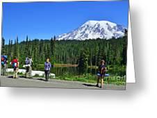Hikers At Reflection Lake Greeting Card