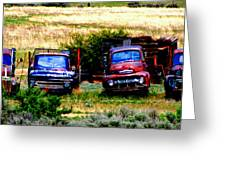 Hill Billy Used Auto Sales Greeting Card by Andrea Camp