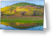 Hill Reflection In Pond Greeting Card