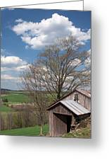 Hillside Weathered Barn Dramatic Spring Sky Greeting Card