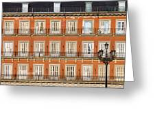 Historic Facade At Plaza Mayor In Madrid Greeting Card