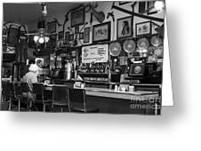 Historic Niles District In California Near Fremont . Bronco Billys Pizza Palace . 7d10707 . Bw Greeting Card