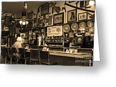Historic Niles District In California Near Fremont . Bronco Billys Pizza Palace . 7d10707 . Sepia Greeting Card