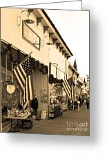 Historic Niles District In California Near Fremont . Main Street . Niles Boulevard . 7d10693 . Sepia Greeting Card by Wingsdomain Art and Photography