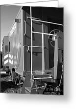 Historic Niles District In California Near Fremont . Western Pacific Caboose Train . 7d10622 . Bw Greeting Card by Wingsdomain Art and Photography