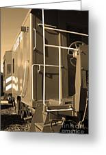 Historic Niles District In California Near Fremont . Western Pacific Caboose Train . 7d10622 . Sepia Greeting Card by Wingsdomain Art and Photography