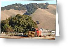 Historic Niles Trains In California . Old Southern Pacific Locomotive And Sante Fe Caboose . 7d10817 Greeting Card
