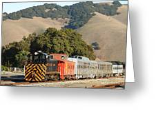 Historic Niles Trains In California . Old Southern Pacific Locomotive And Sante Fe Caboose . 7d10818 Greeting Card