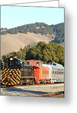 Historic Niles Trains In California . Old Southern Pacific Locomotive And Sante Fe Caboose . 7d10819 Greeting Card