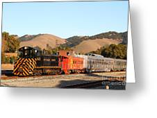 Historic Niles Trains In California . Old Southern Pacific Locomotive And Sante Fe Caboose . 7d10822 Greeting Card