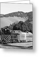 Historic Niles Trains In California . Southern Pacific Locomotive And Sante Fe Caboose.7d10819.bw Greeting Card by Wingsdomain Art and Photography
