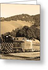 Historic Niles Trains In California.southern Pacific Locomotive And Sante Fe Caboose.7d10819.sepia Greeting Card