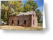 Historic Ruined Brick Building In Rural Farming Community - Utah Greeting Card
