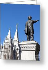 Historic Salt Lake Mormon Lds Temple And Brigham Young Greeting Card