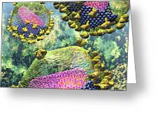 Hiv Three Sectioned Virions On Blue Greeting Card