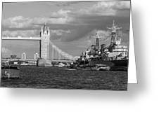Hms Belfast And Tower Bridge Greeting Card