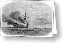 Hms Bombay Burning, 1865 Greeting Card
