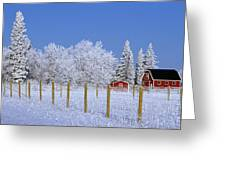 Hoarfrost On Trees Around Red Barns Greeting Card