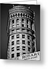 Hobart Building In San Francisco Ll - Black And White Greeting Card