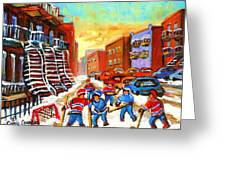 Hockey Art Kids Playing Street Hockey Montreal City Scene Greeting Card