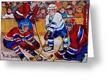 Hockey Game Scoring The Goal Greeting Card by Carole Spandau