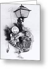 Holiday Basket On Lamp Bw Greeting Card