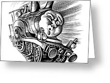 Holiday Train, Conceptual Artwork Greeting Card by Bill Sanderson
