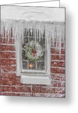 Holiday Wreath In Window With Icicles During Blizzard Of 2005 On Greeting Card