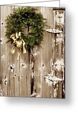 Holiday Wreath On The Farm Greeting Card