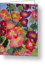 Hollyhocks In Bloom Greeting Card by Kimberlee Weisker