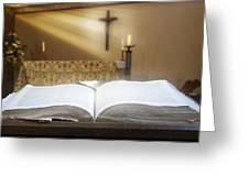 Holy Bible In A Church Greeting Card