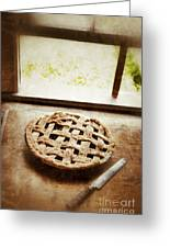 Home Made Pie Cooling By Open Window Greeting Card