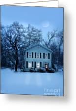 Home On A Wintery Evening Greeting Card