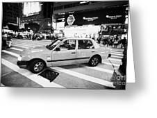 Hong Kong Red Taxi At Night On Nathan Road Downtown Kowloon Hong Kong Hksar China Greeting Card