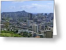Honolulu And Diamond Head Greeting Card