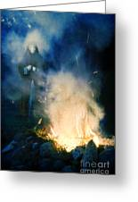 Hooded Figure In A Mask By A Fire Greeting Card