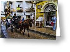Horse And Buggy In Old Cartagena Colombia Greeting Card
