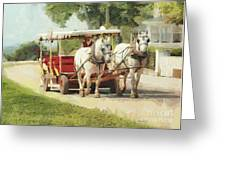 Horse Carriage Mackinac Island Michigan Greeting Card