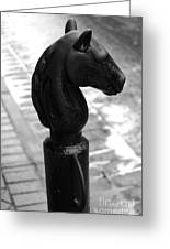 Horse Head Pole Hitching Post French Quarter New Orleans Black And White Greeting Card