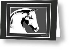 Horse In Black And White Greeting Card