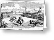 Horse Racing, 1870 Greeting Card