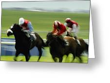 Horse Racing, Ireland Jockeys Racing Greeting Card