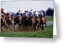 Horse Racing Rear View Of Horses Racing Greeting Card