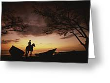 Horseback Rider Silhouetted On A Beach Greeting Card