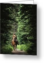 Horseback Riding On An Emerald Lake Greeting Card